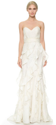 Badgley Mischka Collection Strapless Gown with Ruffle