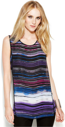 Vince Camuto Sleeveless Stripe-Print Overlay Blouse