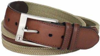 PGA TOUR Men's Herringbone Fabric And Leather Belt