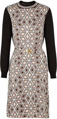 Tory Burch Black Printed Silk And Stretch-knit Dress