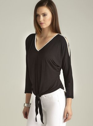 Joan Vass Open Clasp Shoulder Tie Front Top