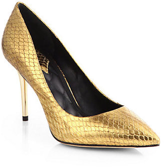 Brian Atwood Malika Snake-Embossed Metallic Leather Pumps
