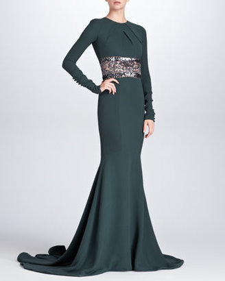 Pamella Roland Long-Sleeve Embroidered Mermaid Gown