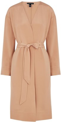 Eileen Fisher Dusky Pink Belted Silk Jacket