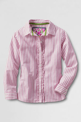 Lands' End Little Girls' Long Sleeve Ruffle Placket Shirt