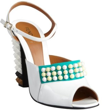 Fendi white leather spiked sandals with optional fabric vamp