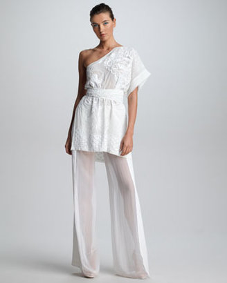 Emilio Pucci Embroidered One-Shoulder Tunic