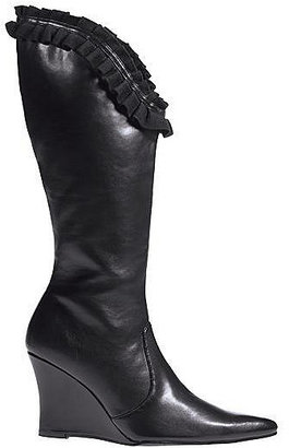 Newport News Ruffle-trim leather boot