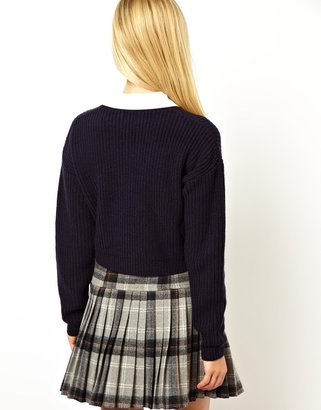 Asos Sweater With Heart Embroidered Collar