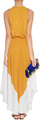 Paul Smith Mustard/Ivory Sleeveless Silk-Blend Maxi-Dress