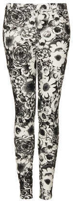 Topshop Dark Floral Flock Treggings