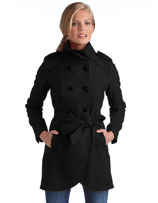 GUESS Belted Double Breasted Wool Coat