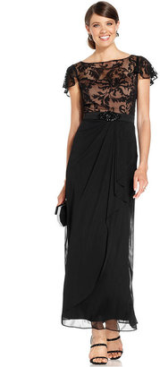 Patra Flutter-Sleeve Lace Gown