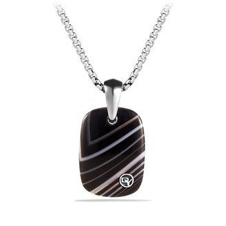 David Yurman Exotic Stone Tablet with Banded Agate on Chain