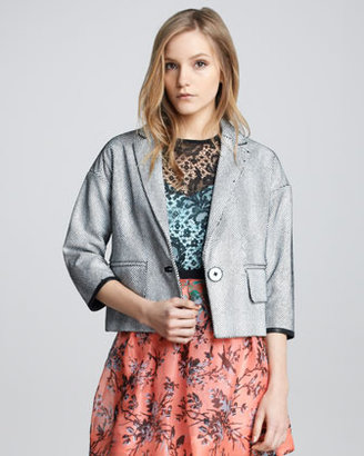 Nanette Lepore Glazed Netted Leather Jacket