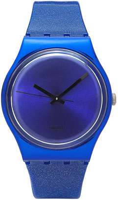 Swatch Watch, Unisex Swiss Intense Blue Glitter Blue Silicone Strap 34mm GS144