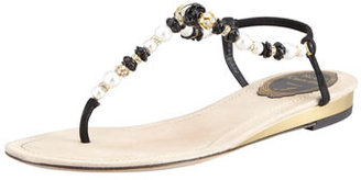 Rene Caovilla Crystal and Floral-Beaded Thong Sandal, Pink
