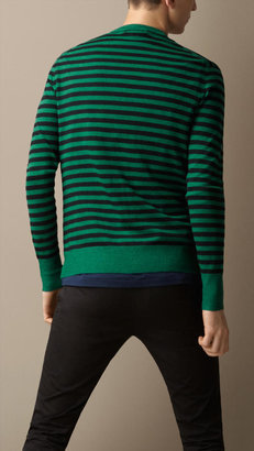 Burberry Double-Dyed Striped Wool Cardigan
