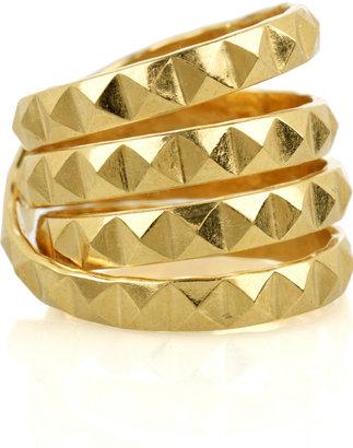 Daisy Knights 22-karat gold-vermeil studded ring