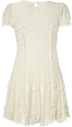 RED Valentino Silk Dot Embroidered Dress