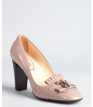 Tod's dusty rose patent leather moccasin style stacked heels