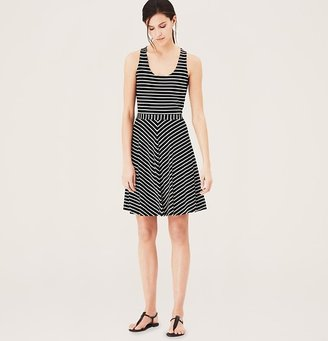 LOFT Petite Striped Flare Tank Dress