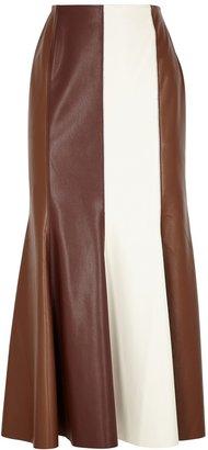 Nanushka Artem Striped Faux Leather Midi Skirt