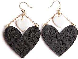 Rosita Bonita Sweet Black Heart Large Earrings