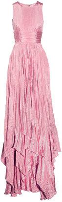 Oscar de la Renta Pleated washed-satin gown