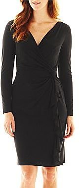 JCPenney American Living Long-Sleeve Ruffle Dress