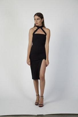 Donna Mizani - Cut Out Strapped Mock Neck Midi $185 thestylecure.com