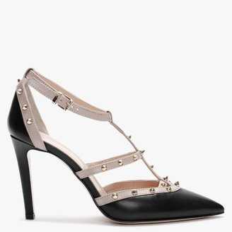 Daniel Tiff Black & Beige Leather Studded Court Shoes