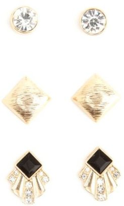 Charlotte Russe Rhinestone Art Deco Stud Earrings - 3 Pack