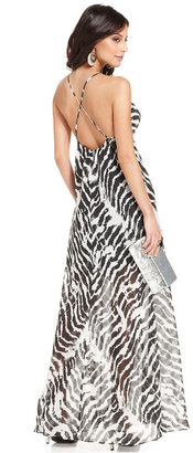 GUESS Dress, Sleeveless Sweetheart Zebra-Print Maxi