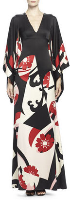 Alexander McQueen Abstract Floral-Print Kimono Gown, Black Mix $6,995 thestylecure.com