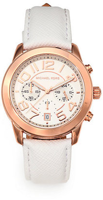 Michael Kors Rose Goldtone Stainless Steel & Leather Chronograph Watch