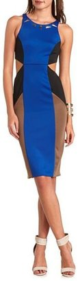 Charlotte Russe Cutout Color Block Midi Dress