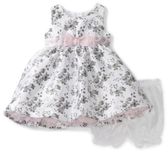 Nannette Baby-girls Infant Rose Print Shangtung Dress with Faux Diamonte Slider