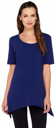 Denim & Co. Perfect Jersey Short Sleeve Scoop Neck Trapeze Top