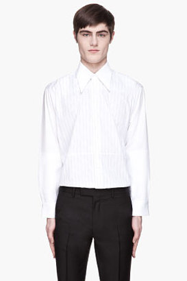 Raf Simons White reinforced pinstriped '70s collar shirt