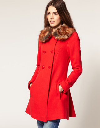 Asos Fluted Back Coat With Faux Fur Collar