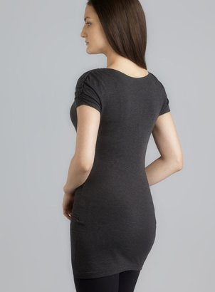 Zobha Ruched Capped Sleeve Charcoal Top