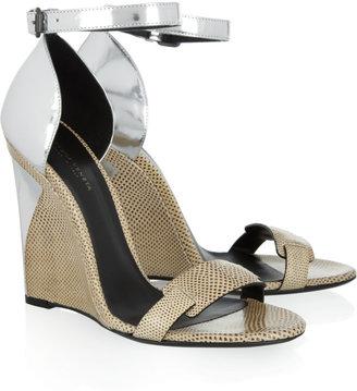 Bottega Veneta Karung and metallic leather wedge sandals