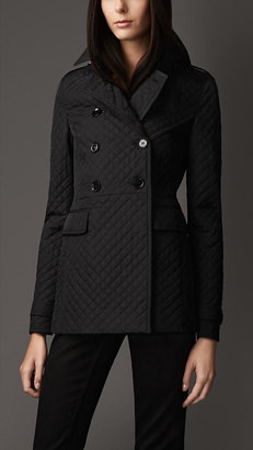 Burberry Slim Fit Quilted Pea Coat