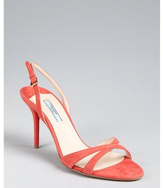 Prada coral suede slingback sandals