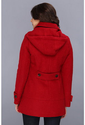 Calvin Klein Hooded Boucle Toggle Coat w/ Faux Leather Accents