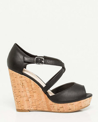 Le Château Faux Leather Strappy Cork Wedge