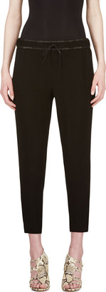 Helmut Lang Black Leather-Waistband Relic Trousers