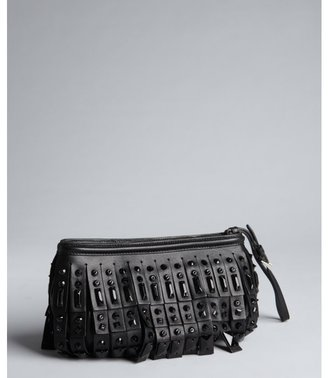 Prada black lambskin fringe and crystal wristlet clutch
