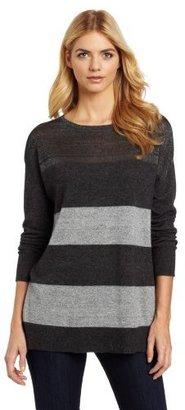 DKNY DKNYC Women's Long Sleeve Boat Neck Stripe Lurex Pullover Sweater